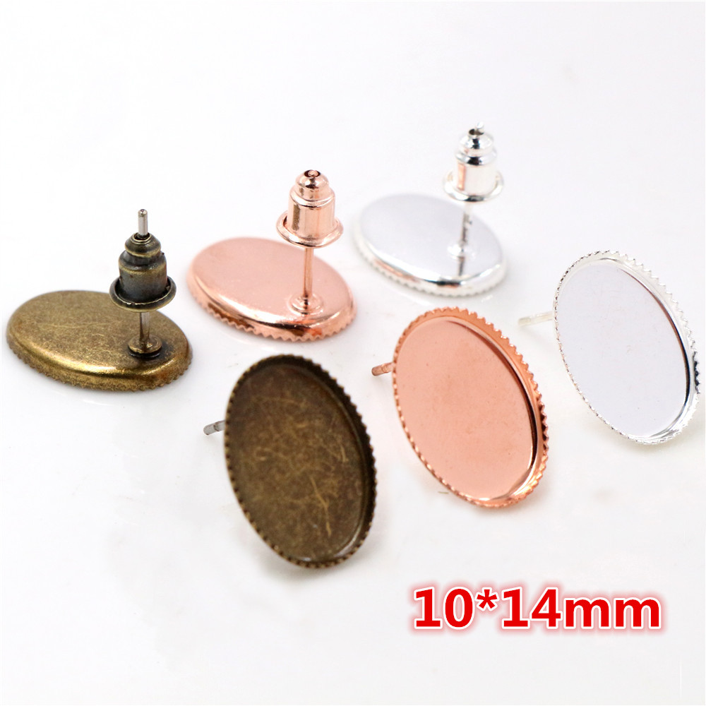 10*14mm 20pcs/lots 3 Colors Plated Earring Studs,Earrings Blank/Base,Fit 10*14mm Oval Glass Cabochons,earring Setting