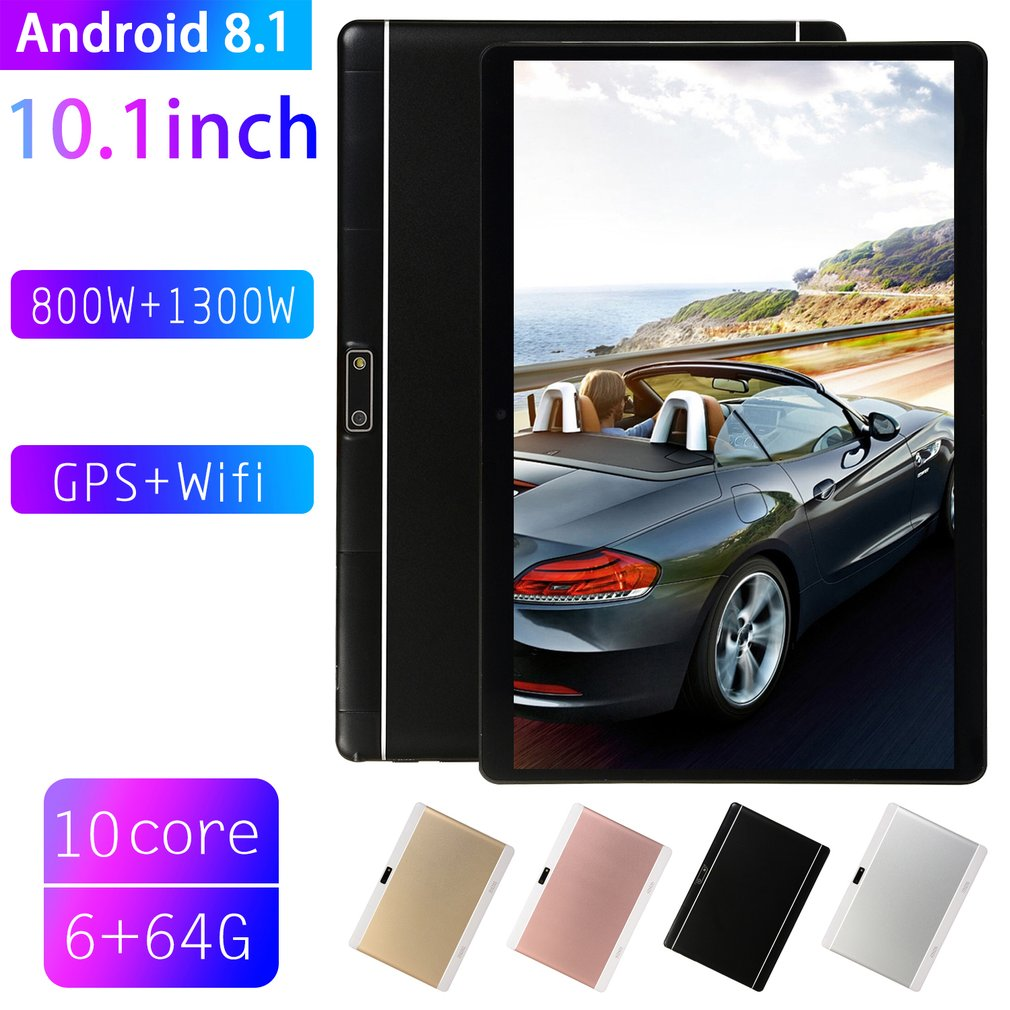 V10 EU Plug Classic Tablet 10.1 Inch HD Large Screen Android 8.10 Version Fashion Portable Tablet 6G+64G Black Tablet