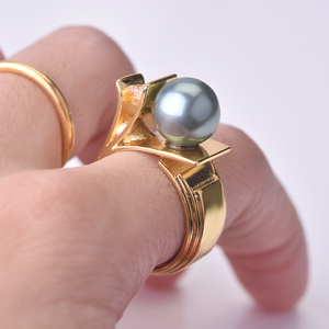 925 Silver with Pearl Diamond Ring for Women silver 925 Jewelry Pearl Topaz Gemstone Bizuteria bague diamant 14k gold ring(China)