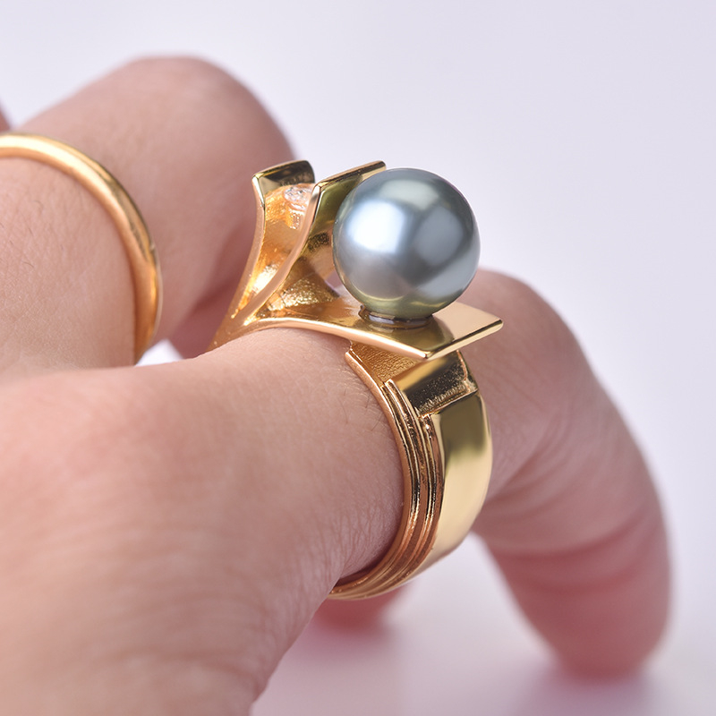 925 Sliver With Pearl Diamond Ring For Women Sparkling Dainty Cirle Silver 925 Jewelry Pearl Topaz Gemstone Bizuteria Ring Box