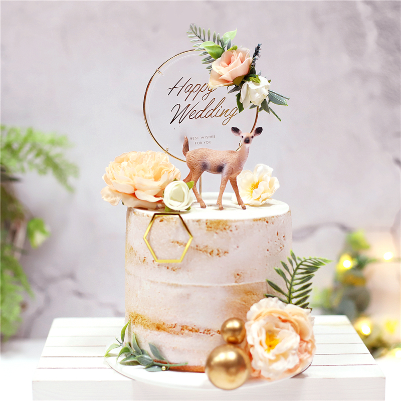 Hook Wedding Cake Topper For Engaged Party Supplies Delicate Flower Deer Baking Decor Bride To Be Marriage Dessert Love Gifts