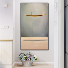 Abstract Gold Sailboat Posters and Prints Wall Art Canvas Painting,Modern Pictures For Corridor Home Decor