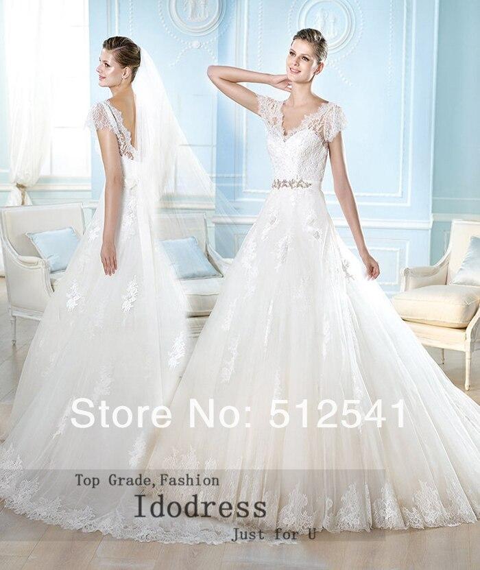 Noble Short Sleeves Lace Wedding Dresses 2014 A Line V Neck V Back Applique Organza Sweep Train Yk8R131
