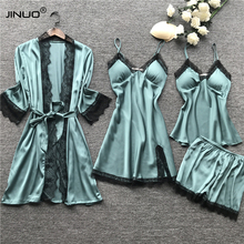 JINUO 4 Pieces Women Pajamas Sets Satin Sleepwear Silk Nightwear Pyjama Spaghetti Strap Lace