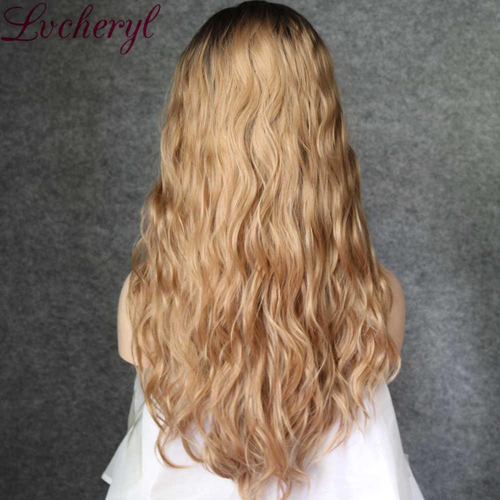 Lvcheryl Sentetik önü örgülü peruk Koyu Kahverengi Kökleri Sarışın Renk Doğal Uzun Dalgalı Saç Isıya Dayanıklı Saç Peruk Kadınlar için
