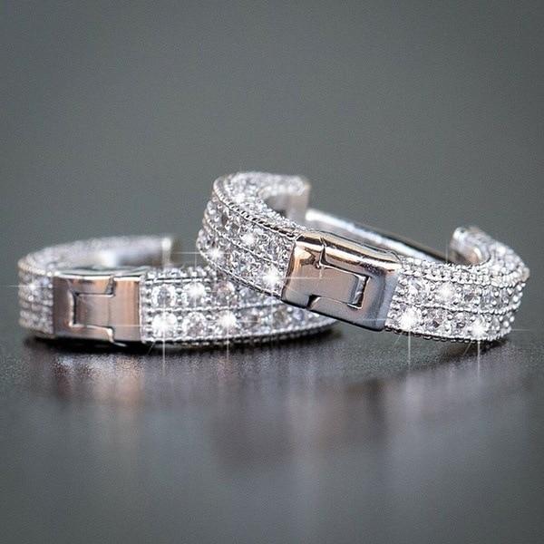 Luxury Crystal Female Circle Hoop Earrings Classic Gold Color Party Earrings Vintage Bride Wedding Earrings For Women