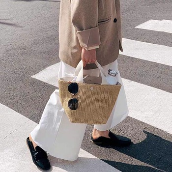 Ansloth Straw Bucket Bag Woven Handbag Small Bag Brand Women Bag Casual Straw Bag Women Summer Bag Rattan Bags Beach Bag HPS906