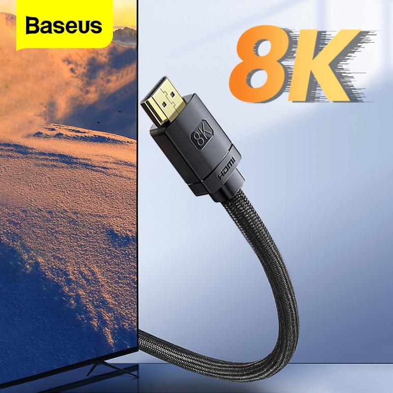 Baseus hdmi 2.1 ao cabo de hdmi 8k 48gbps cabo digital para xiaomi mi caixa ps5 ps4 pc tv caixa divisor interruptor 8k/60hz 4k/120hz hdmi