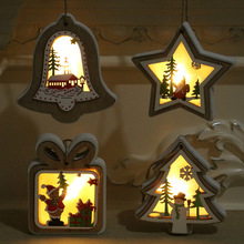 Christmas Tree Pendants New Decorations Lights Wood Gifts Wooden