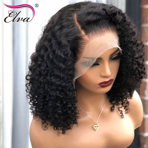 Image 2 - 13x6 Human Hair Bob Wig For Black Women Curly Lace Front Human Hair Wigs Short Glueless Elva Hair Wig Pre Plucked With Baby Hair