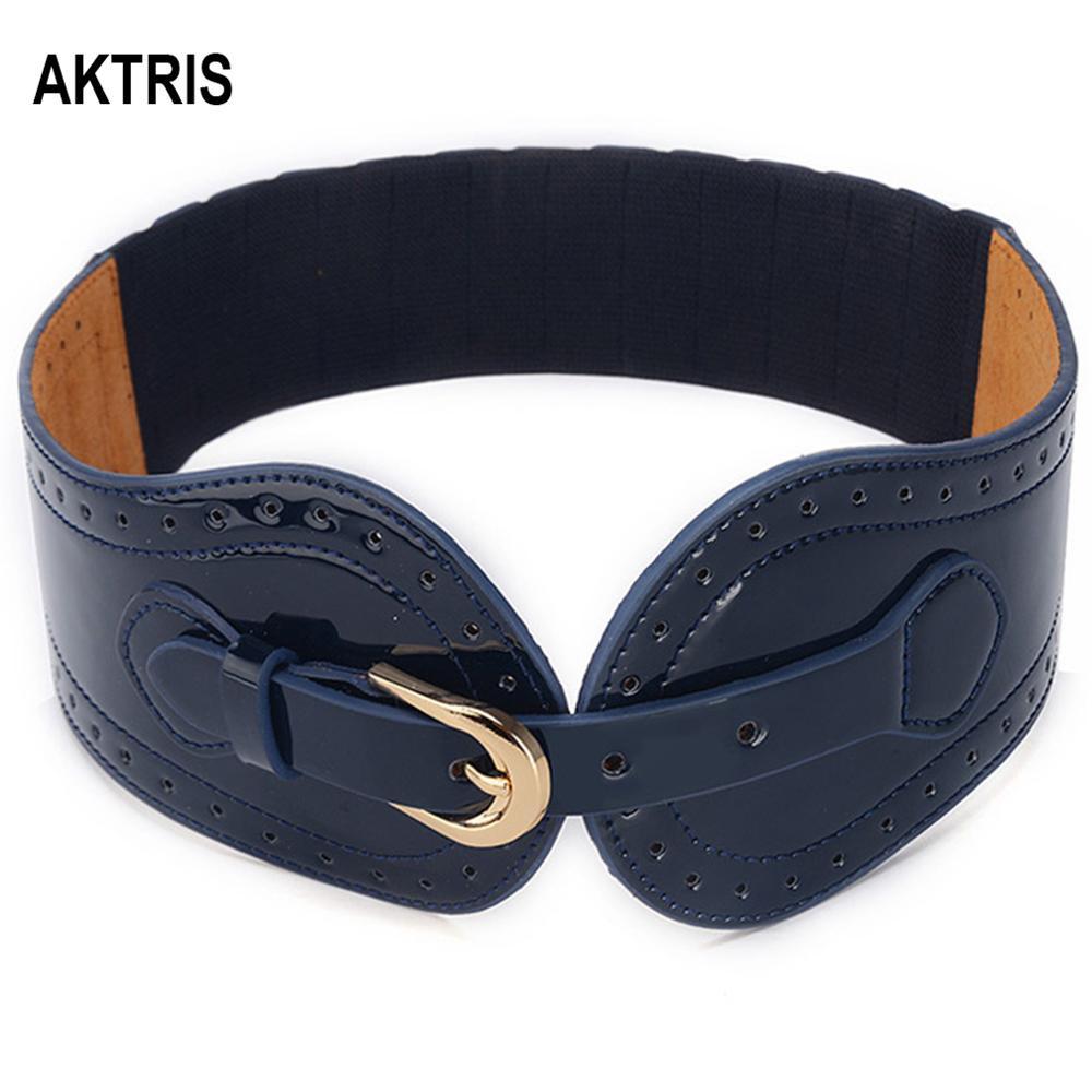 AKTRIS Ladies Decorative Belts Dermis Elastic Blue Waistband Waistline Patent Leather Down Jackets Waistband Women FCO123