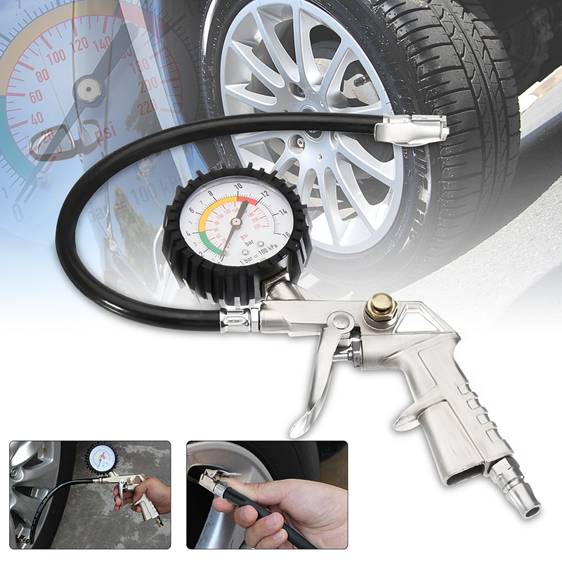 220Psi Tire Inflator Air Compressor Pressure Gauge Car Tire Black Gauge Locking Chuck Flexible Hose Air Pump With Barometer