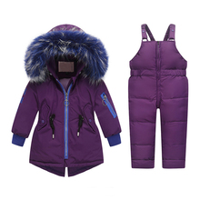 купить Toddler Baby Girl Boy Clothing for Russia Winter Overalls Suit -30 Fur Down Boy Ski High Quality Hooded Jacket Children Snowsuit дешево