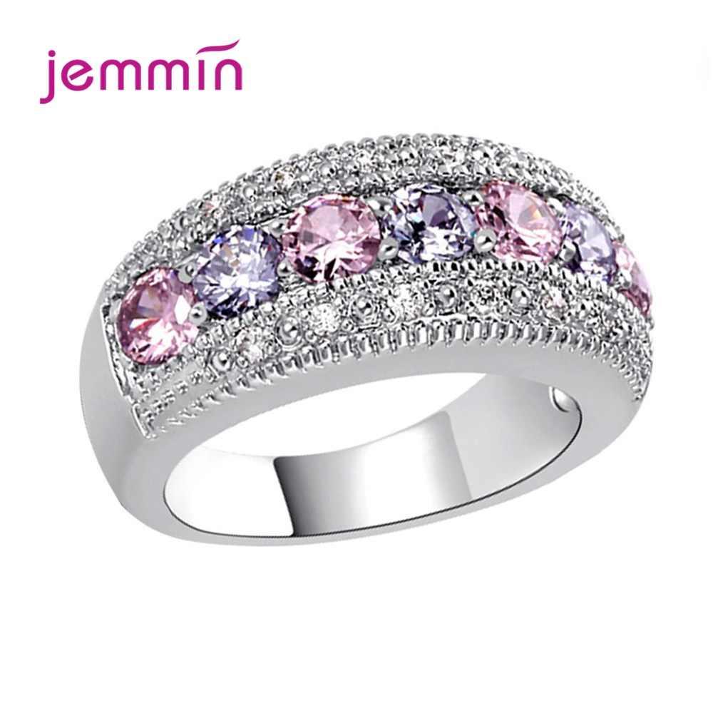 ผู้หญิงสีชมพูสีม่วงแหวน Zircon สีสันสดใส 925 เงินสเตอร์ลิงสัญญาหมั้นงานแต่งงานแหวนแฟชั่นเครื่องประดับขนาด 6/7/ 8/9/10