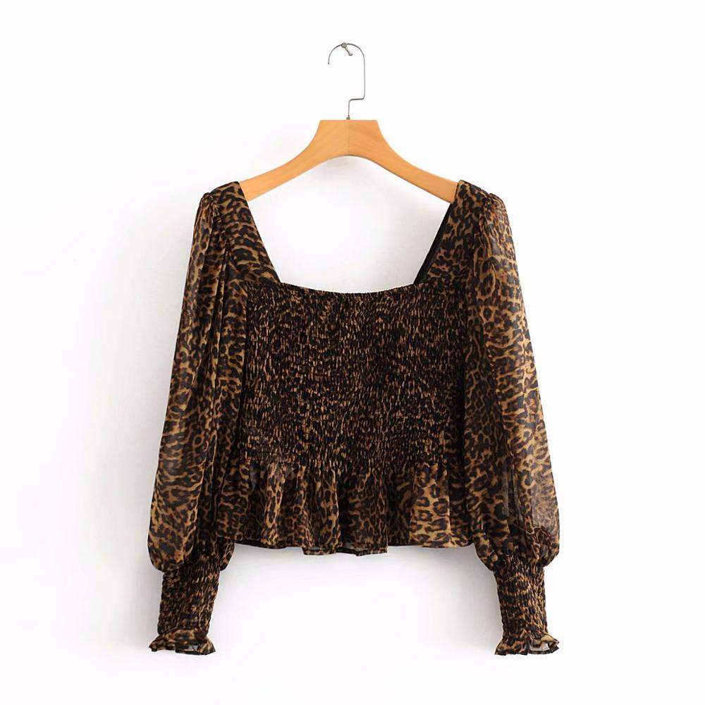 New Women Vintage Square Collar Leopard Print Casual Chiffon Smock Shirt Blouses Women Elastic Roupas Chic Femininas Tops LS6328