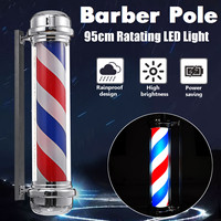Barber Shop Pole Rotating Lighting Red White Blue Stripe Rotating Light Stripes Sign Hair Wall Hanging LED Downlights