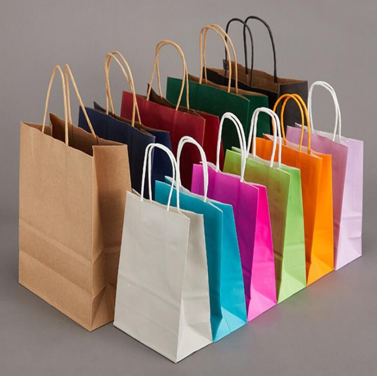 80 pçs/lote Azul Festa de Casamento Favor Sacos De Papel de Presente saco de papel com alça 21*15*8cm
