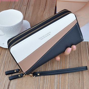 Women's Wallet Good Fashion Ladies Mobile Phone Long New Coin Card Money Color Matching Double Zipper in Hand Strap Features 580