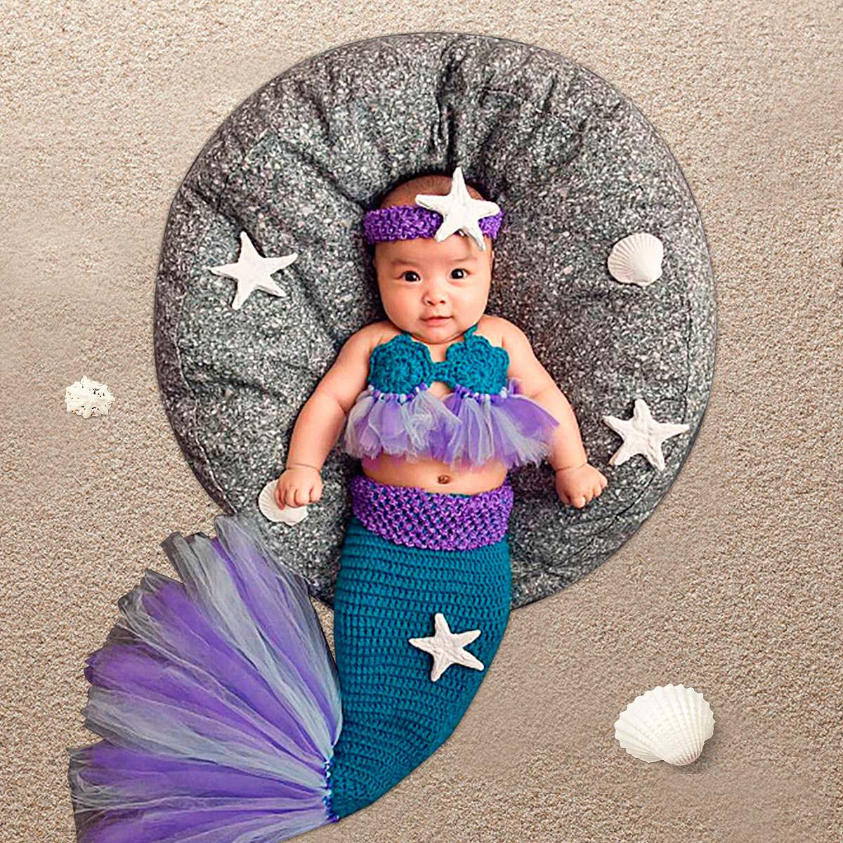 Baby Knitted Photography Props Mermaid Shaped Kids Costume Wrap Photo Props New Born Photography Clothing Accessories Tools