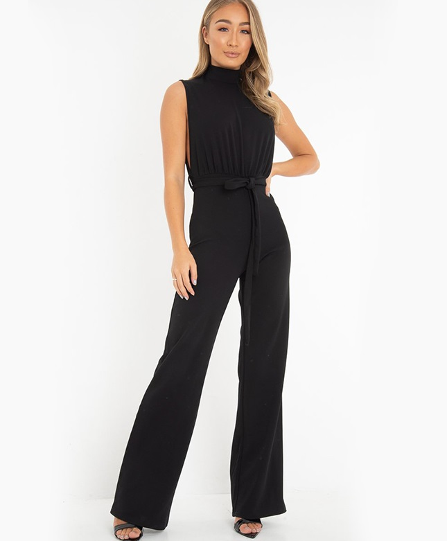 Women Clubwear Summer Playsuit Bodycon Party Jumpsuit Ladies sleeveless High Waist Belt Straight Leg Jumpsuit Long Trousers