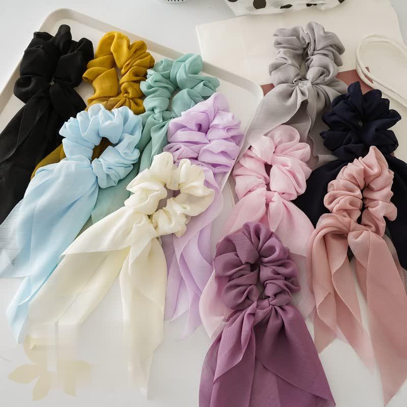 New Chiffon Thin Bow Ribbon Tassel Large Intestine Circle Cross Border Hot Selling Female Headdress Fabric Art Hair Circle