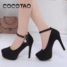 New Female Water Proof Taiwan 12 Cm A Word Buckle Bridesmaid Fine Day High Single Shoes With Women Heel Evening