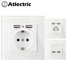 Atlectric EU FR Standard With Dual USB Charging Port 2.1A Power Wall Socket Glass Panel Power Adapter For Mobile Outlet Plug