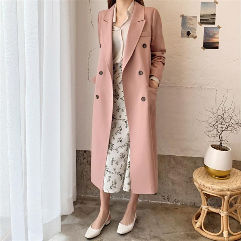 Spring Autumn Pink Blazer Women's Coat Korean Blazer Suits Women's Straight Blazer Feminino Long Blazer Women Blazer Jacket