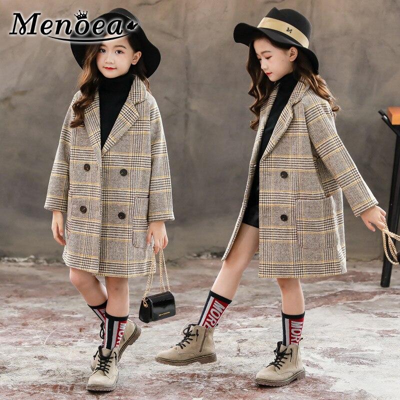 Menoea Girls Clothes Autumn Winter 2019 Korean Edition Tartan Coat Big Children's Tweed Woolen Coat In Beige Check Coats Clothes