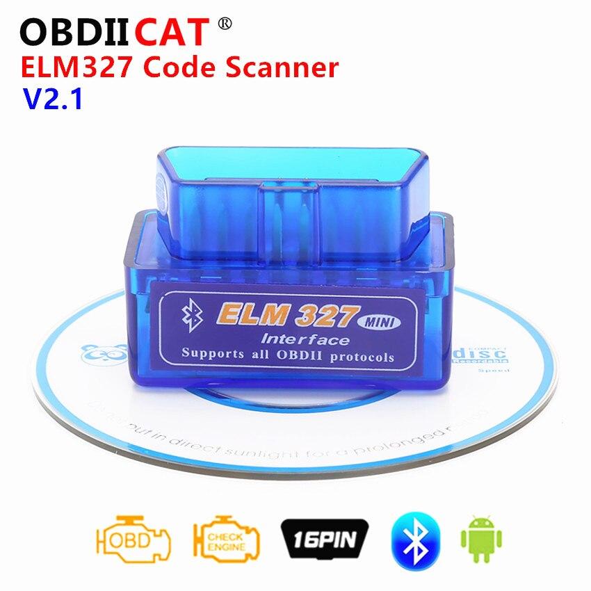 High Quality Super Mini ELM 327 V2.1 CD Bluetooth ELM327 OBD2 OBD II Works On Android Torque Free Shipping