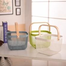 Vegetable Fruit Basket Wooden Handle Metal Portable Large Capacity Multi-function Groceries Storage Baskets