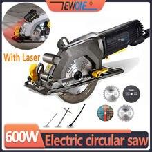 Newone mini serra circular elétrica, com laser serra elétrica multifuncional diy ferramenta elétrica para corte de madeira, tubo de pvc