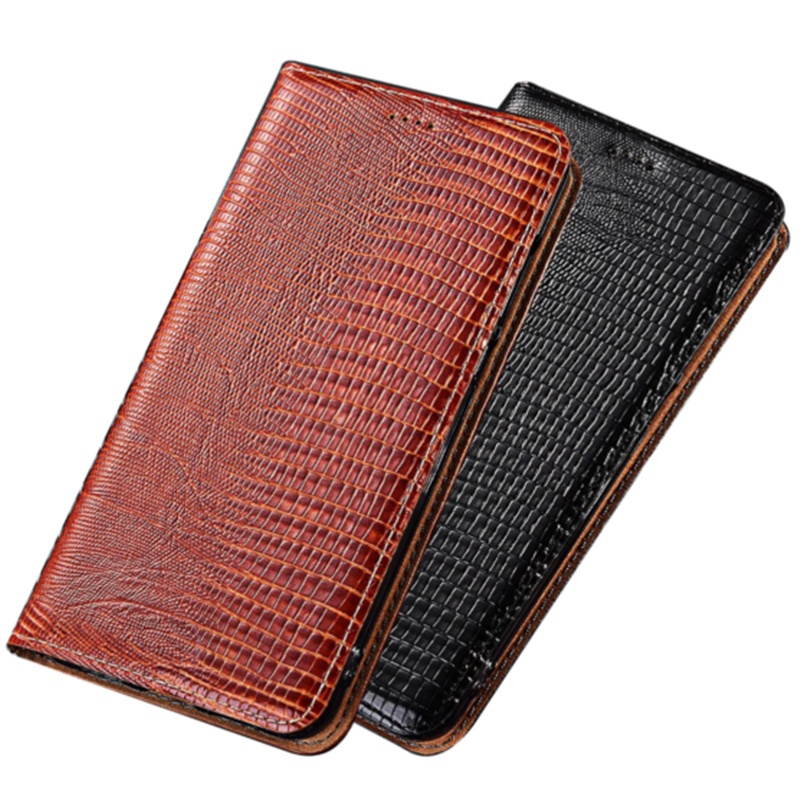Lizard genuine natural leather holster card holder cover for <font><b>Samsung</b></font> Galaxy A9 Pro <font><b>A9100</b></font>/Galaxy C9 Pro C9100 magnetic phone case image