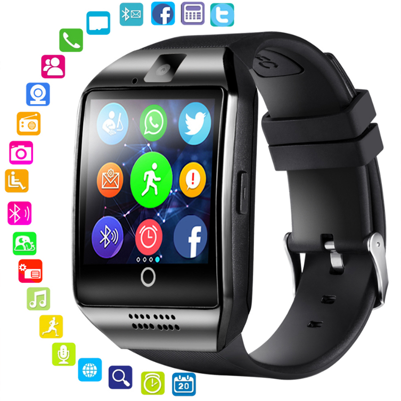 Kcondicee Bluetooth Smart Watch Men Q18 With Touch <font><b>Screen</b></font> <font><b>Big</b></font> Battery Support TF Sim Card Camera for Android Phone <font><b>Smartwatch</b></font> image