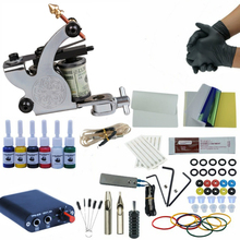 Tattoo Kit Set 1 Rotary Machine 6Colors Pigment Ink Power Supply Needles Accessories