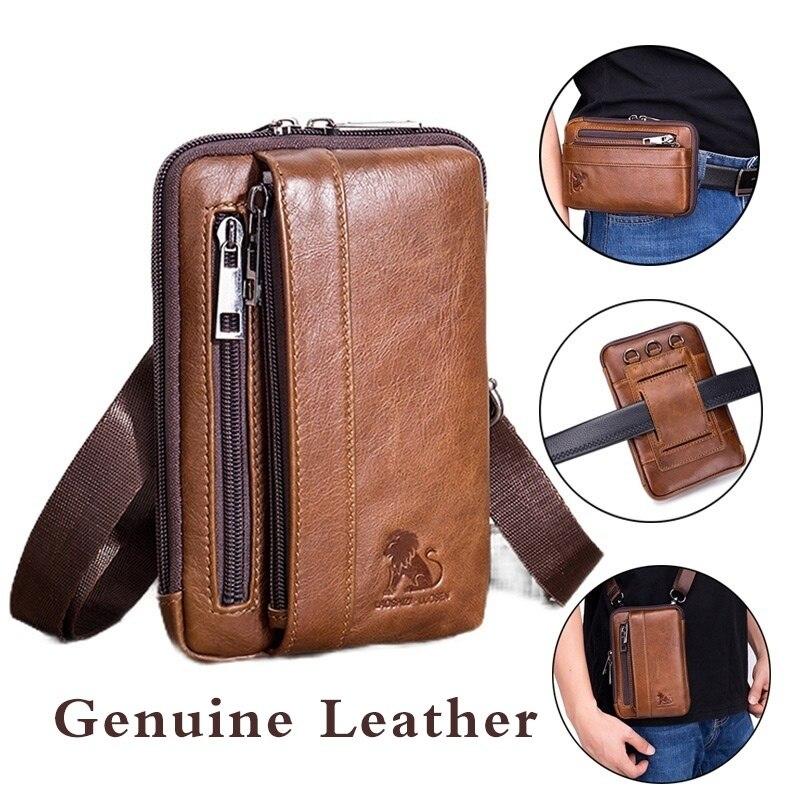 LAOSHIZI LUOSEN Mens Waist Bag Genuine Leather Fanny Pack Multifuctional Belt Bag Phone Creditcard Holder 91118