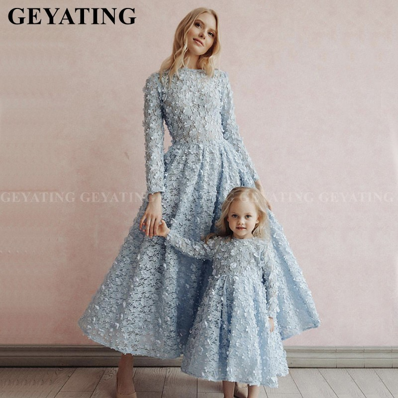 Arabic Baby Blue Lace 3D Floral Long Sleeves Evening Dress For Mother And Daughter Formal Prom Dresses Midi Family Party Gowns