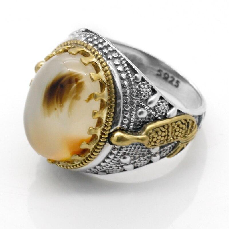 Heißer 925 Sterling Silber Ring Türkischen Schmuck Ozean Onyx Stein Ring Transparent Schwarz herren Ring Hohe Schmuck|Ringe|   - AliExpress