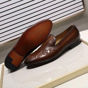Image 5 - FELIX CHU Streetแฟชั่นผู้ชายLoaferลื่นบนหนังแท้สีน้ำตาลCasualธุรกิจรองเท้าแต่งงานรองเท้าMens