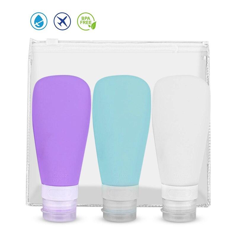 1/3Pcs 60/90ml Silikon Nachfüllbare Flasche Reise Shampoo Flasche Lotion Reise Verpackung Presse Flaschen Tragbare kosmetische Behälter