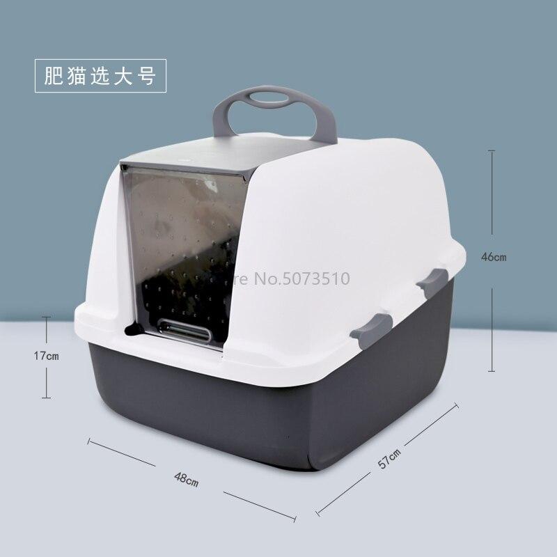 Кошачий песочный горшок удобрение кошачий Туалет полностью герметичный супер большой однослойный дезодорирующий и защита от брызг - Цвет: Синий