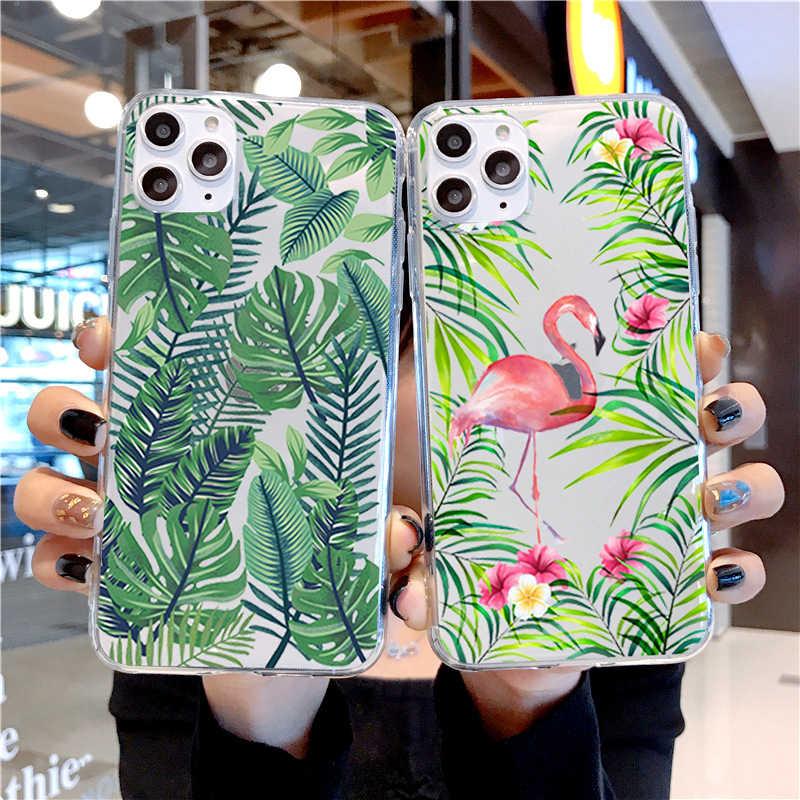 יער גשם טרופי פלמינגו עלים רך TPU סיליקון חזרה כיסוי טלפון מקרה עבור iPhone X 10 6 6S 7 8 בתוספת 5 5S SE XR XS מקסימום 7 8