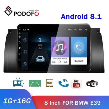 Podofo 8 Android 8.1 2 din Car Radio Multimedia Video Player GPS WiFi FM Bluetooth 2 Din Autoradio Car Stereo For BMW E39 image