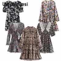 ZA Women Dress Floral Print Elegant Vintage Long Sleeve O Neck A-line vestidos de fiesta de noche vestidos Casual Mid-calf Dress