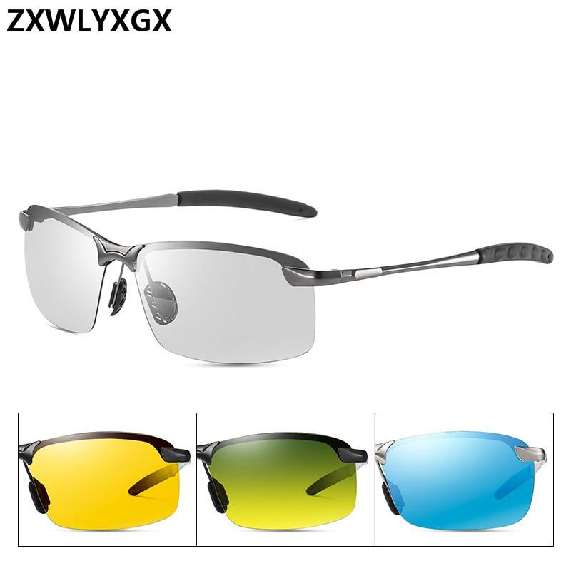 Classic Driving Photochromic Sunglasses Men Brand Polarized Chameleon Discoloration Sun Glasses For Men Anti-glare Goggles