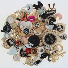 10 sztuk mieszane emalia ROCK Charms czarne serce szminka torba na ubrania kapelusz stop dziewczyna dostarcza dla DIY tworzenia biżuterii akcesoria X3396