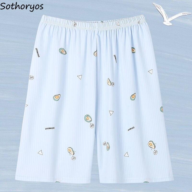 Schlaf Bottoms Frauen Gedruckt Plus Größe 3XL Lose Stilvolle Kawaii Koreanische Stil Knie Länge Nachtwäsche Damen Chic Süße Pyjama Hosen