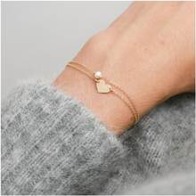 Bangles Heart Bracelets Women Multilayer Jewellery Bracelet Artificial Pearl Jewelry Fashion Couples Elegant Gold Color Metal(China)