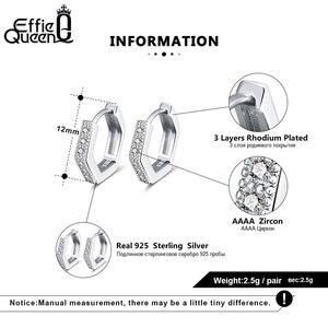Image 5 - Effie królowa kobieta małe kolczyki w kształcie obręczy 925 srebro 12mm z cyrkoniami aaa kolczyk biżuteria wesele prezent BE261
