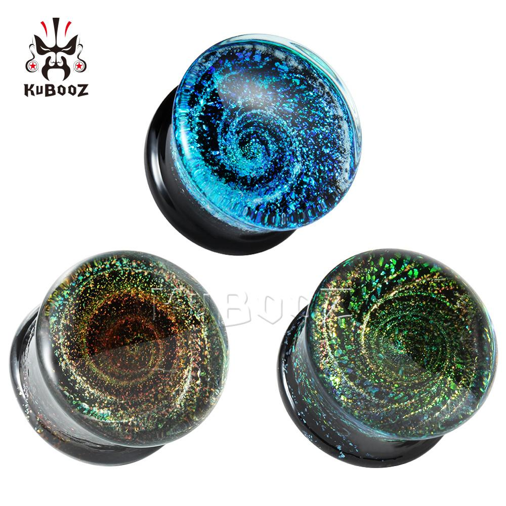 Round MultiColor Glass Ear Piercing Plugs Strechers Fake Earrrings Unsex 6mm To 25mm